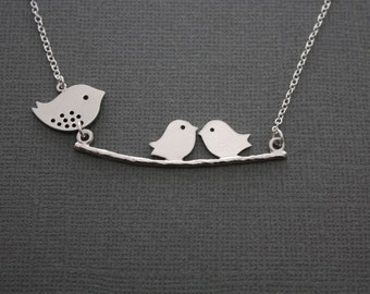 068- Momma and her chicks - Sterling silver birds on a branch necklace