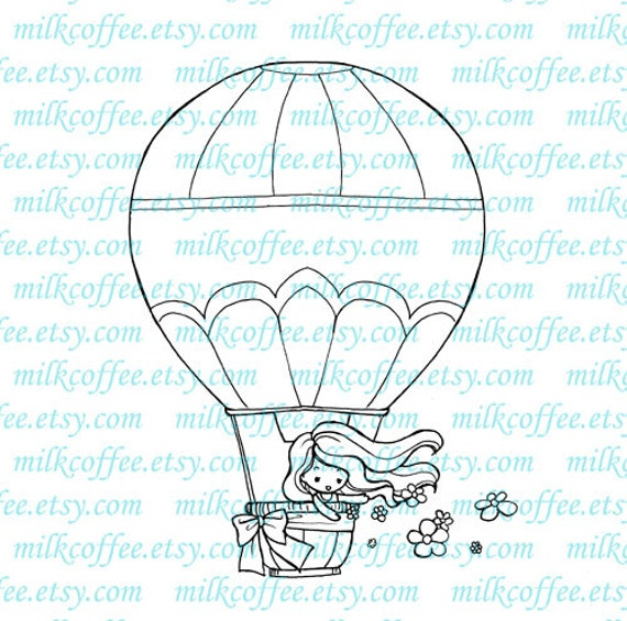 Digital Stamp - Michelle in Hot Air Balloon