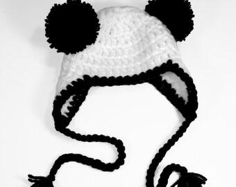 Panda Bear Baby Hat, Newborn Earflap Cap with 2 Pom-Poms