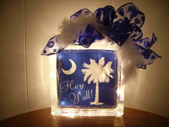 "lighted glass block Palmetto Tree with Crescent moon optional ""Hey Y'all"""