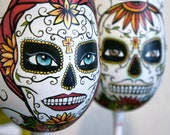 Day of the Dead Hand painted wine glass set Made to Order
