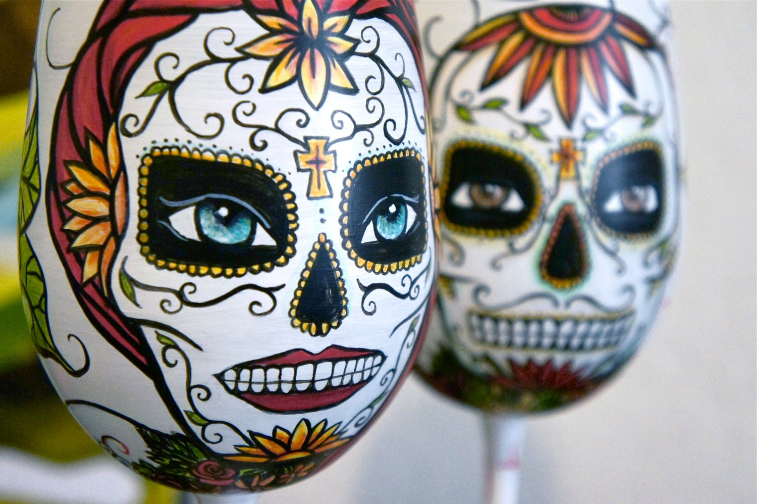 Day Of The Dead Hand Tattoo: Items Similar To Day Of The Dead Hand Painted Wine Glass