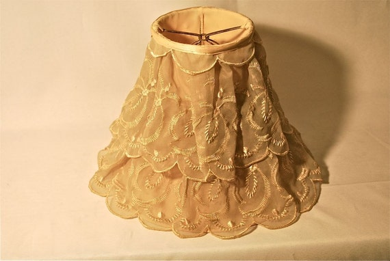 Scalloped Chiffon-y Vintage Clip-On Lamp Shade in Ecru