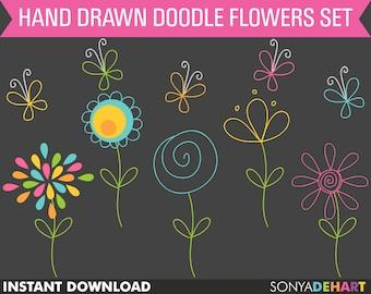 80% OFF Sale Clipart Flowers, Digital Flowers, Scrapbook Flowers, Doodle Flowers, Clip Art, Clipart