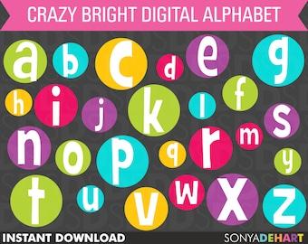 80% OFF Sale Alphabet Clipart, Clipart Letters, Digital Alphabet, Circle Alphabet, Round Alphabet, Clipart Alphabet, Scrapbook Alphabet