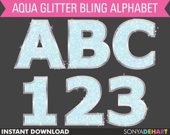 80% OFF Sale Clipart SALE Clipart Digital Alphabet Aqua Blue Sparkly Bling Glitter Letters Clip Art Font Clipart SALE