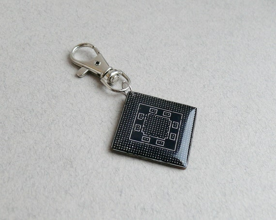 Geekery keychain - recycled computer ready to ship