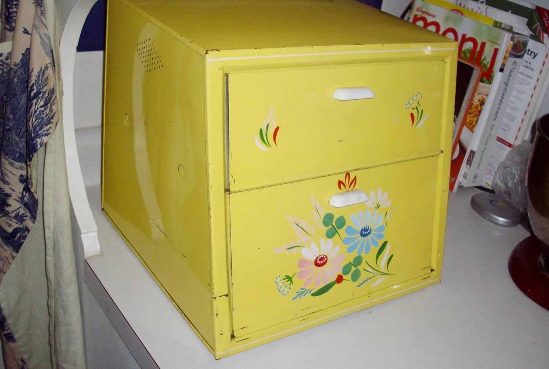 Vintage Bread Box Ransburg Yellow Tole Enamelware 1950 S