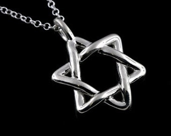 3D Star of David Judaica Pendant Necklace Sterling Silver 925