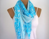 Cotton Scarf Blue Shawl Shrug Neckwarmer Gift for her