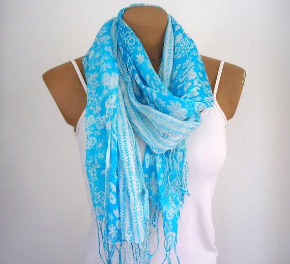 Cotton Scarf Blue Shawl Shrug Neckwarmer Gift for her