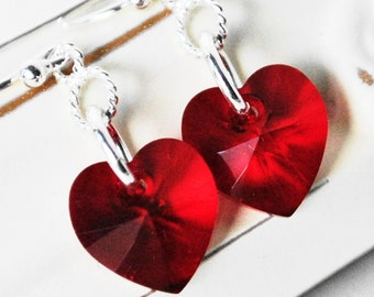 Heart Shaped Earrings - Swarovski Crystal Earrings - Red Earrings - Valentine Day Gift for Her - Heart Earrings - Love Earrings