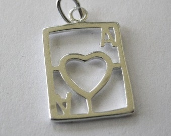 Ace of Heart Charm 2 Sterling Silver Playing Card Earring Finding 1PR