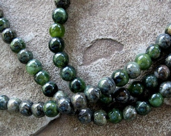 Round 8MM Chinese Jasper Large Hole Beads Fits Leather 7.5 inches