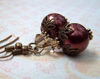 Chocolate Pearl Earrings Vintage Earrings Estate Style Victorian Earrings Pearl Jewelry Old Hollywood Neo Victorian Jewelry