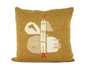 Decorative Pillow -Butterfly I - soft knitted pillow - mustard yellow, 18x18, includes insert