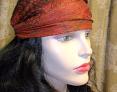 Wide Turban Headband-----Recycled Vintage SARI Silk-- Rusty Bohemian