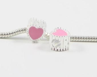 3 Beads - Pink Enamel Heart Valentines Silver European Bead Charm E0640