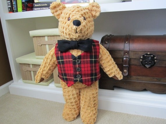 Collectable gold chenille bear with plaid wool vest and black wool bow tie OOAK