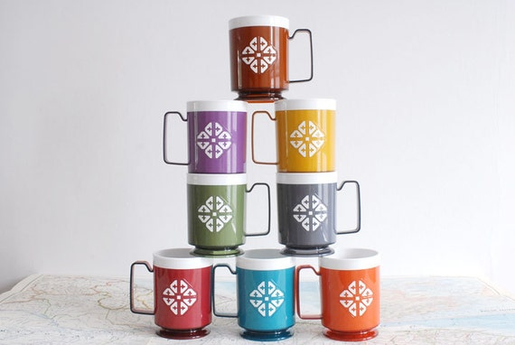 Colorful Retro Plastic Mugs by Chalet -- Full Set of 8 Cups