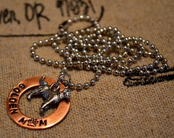 Golden Mom Handstamped Necklace