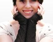 For Tanya Only Fingerless Gloves: Halloween, Black, Glitter, Sparkle, Long Gloves, Red or Black trim, Devil, Witch Costumes