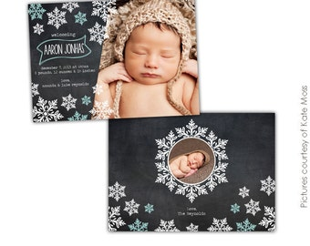 INSTANT DOWNLOAD -  Christmas Card Photoshop template - Snowflakes shower - E608