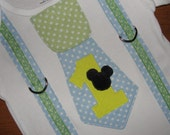 Baby Mickey Mouse Party Outfit Baby Mickey Theme Tie and Suspenders Bodysuit for Baby Boy, Baby Boy Clothing, Baby Blue Mickey