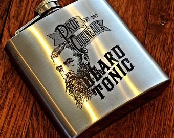 Flask - Custom Engraved Beard Tonic Or Elixir Flask, Personalized Engraved Hip Flask, Steampunk Flask, Groomsman Flask