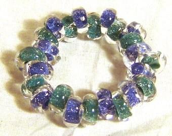 Blue and Teal sparkle borosilicate bracelet