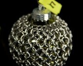 Chainmaille Wrapped Ornament in Silver, Olive Green & Gold