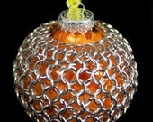 Chainmaille Wrapped Ornament in Silver & Orange