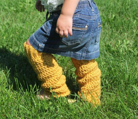 Leg Warmers - Size 1 to 3 - Light Mustard Yellow Crocheted - Ready to Ship