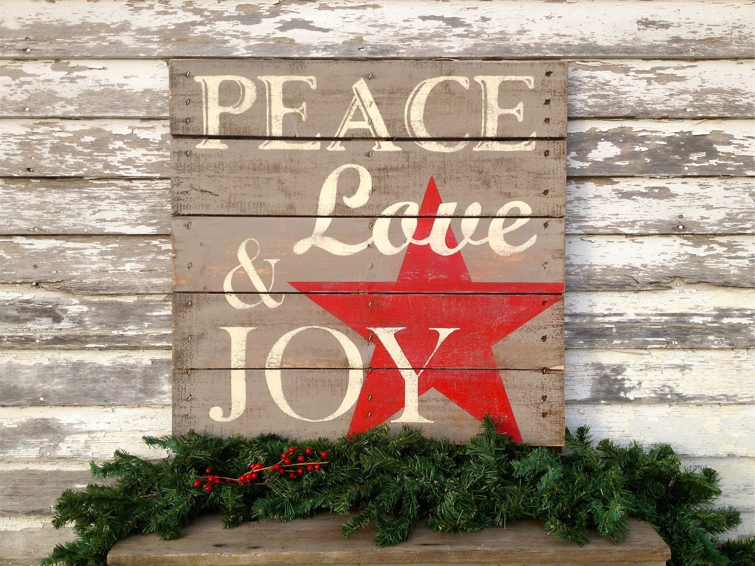 holiday hand painted repurposed pallet