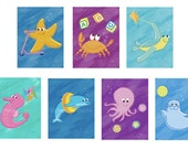 Sea Kids Prints -- seven prints, bright color series -- special order Cathy