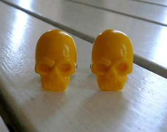 Yellow Skull Cufflinks Gifts for Guys Boyfriends Groomsmens yellow accessories yellow cuff links