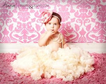 Big Two Toned Rose Pink/ Ivory Flower Baby Headband/ Newborn Headband/ Photo Prop