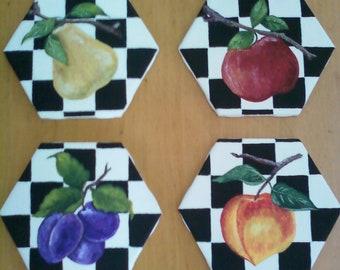 Handpainted Unique Decorative Ceramic Fruit Tiles