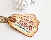 Mini // Merry Christmas // Vintage Inspired // Embossed // Rhinestone Accented // Gift Tags // Set of 6