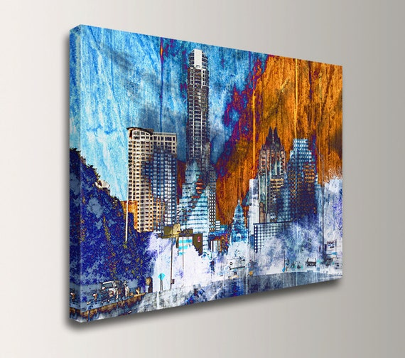 "Austin Texas Wall Decor - Canvas Print - Original Mixed Media Collage - Digital Print - Blue and Orange - ""Austin Daybreak"""