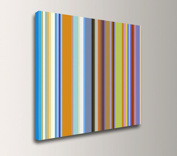 "Stripe Art - Line Art - Colorful Stripe Pattern Canvas Print - Modern Wall Decor - ""Band of Colors"""