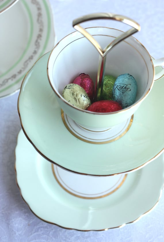 Mint green 2 tier mini cake stand / jewelry stand: classic Colclough china repurposed to make a unique cookie / truffle stand