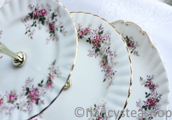 "Royal Albert 3 tier cake stand, pretty ""Lavender Rose"" patterned plates upcycled to create a special cupcake stand"