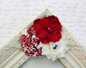 Red and Ivory Chiffon flower headband, baby headbands, newborn headbands, damask headbands, photography prop, red headbands