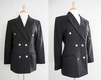 Vintage Womens Boyfriend Blazer / School Boy Jacket  / Masculine Jacket  / Double Breasted Blazer - Size Large