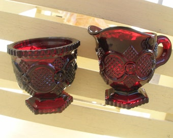 Avon 1876  Cape Cod Ruby Red Glass  Cream and Sugar Set    Vintage Glass  Red Glass