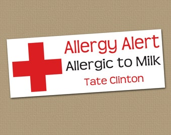 Personalized Waterproof Label Stickers - Allergy Alert - Perfect for Bottles, Sippy Cups, Daycare, School - Dishwasher Safe