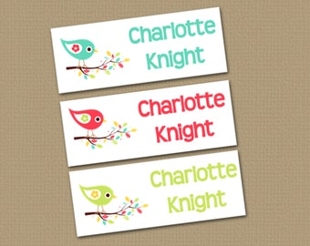 Personalized Waterproof Label Stickers - Girl - summer birdies - Perfect for Bottles, Sippy Cups, Daycare, School - Dishwasher Safe