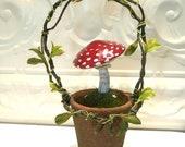 Red Amanita Mushroom sculpture in mossy terra cotta pot Christmas Birthday Gift home decor seasonal decor