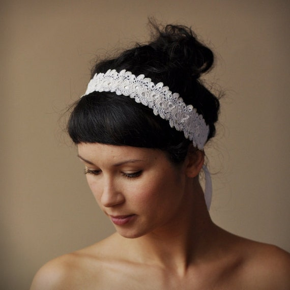 Crochet Hair For Wedding : BRIDAL HAIR BAND wedding hair accessory crochet lace lacy oryginal and ...
